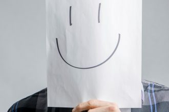 testimonial blank man with smiling face in front of his face