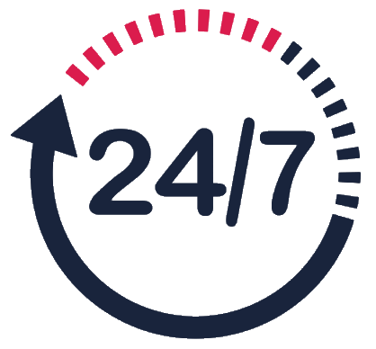 247 anytime anywhere icon